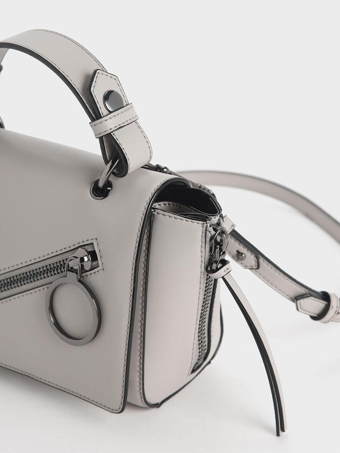 Ring Zip Pocket Trapeze Bag, Grey, hi-res
