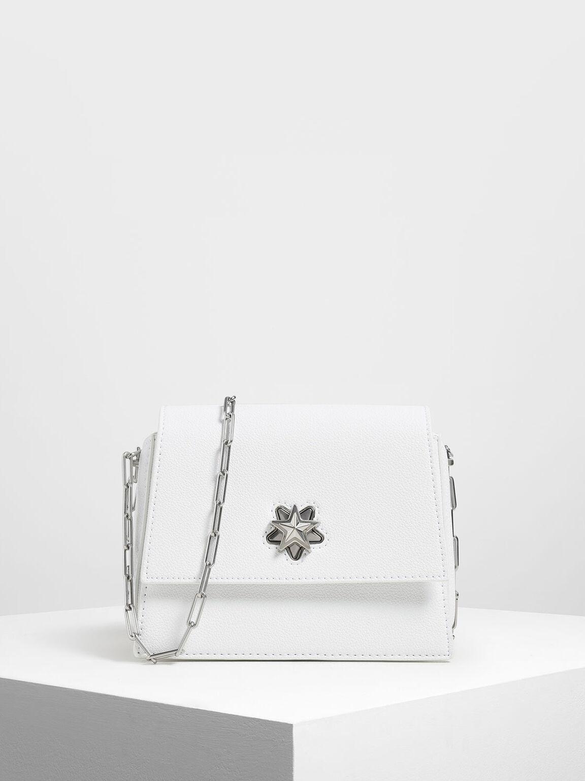 Star Buckle Crossbody Bag, White, hi-res