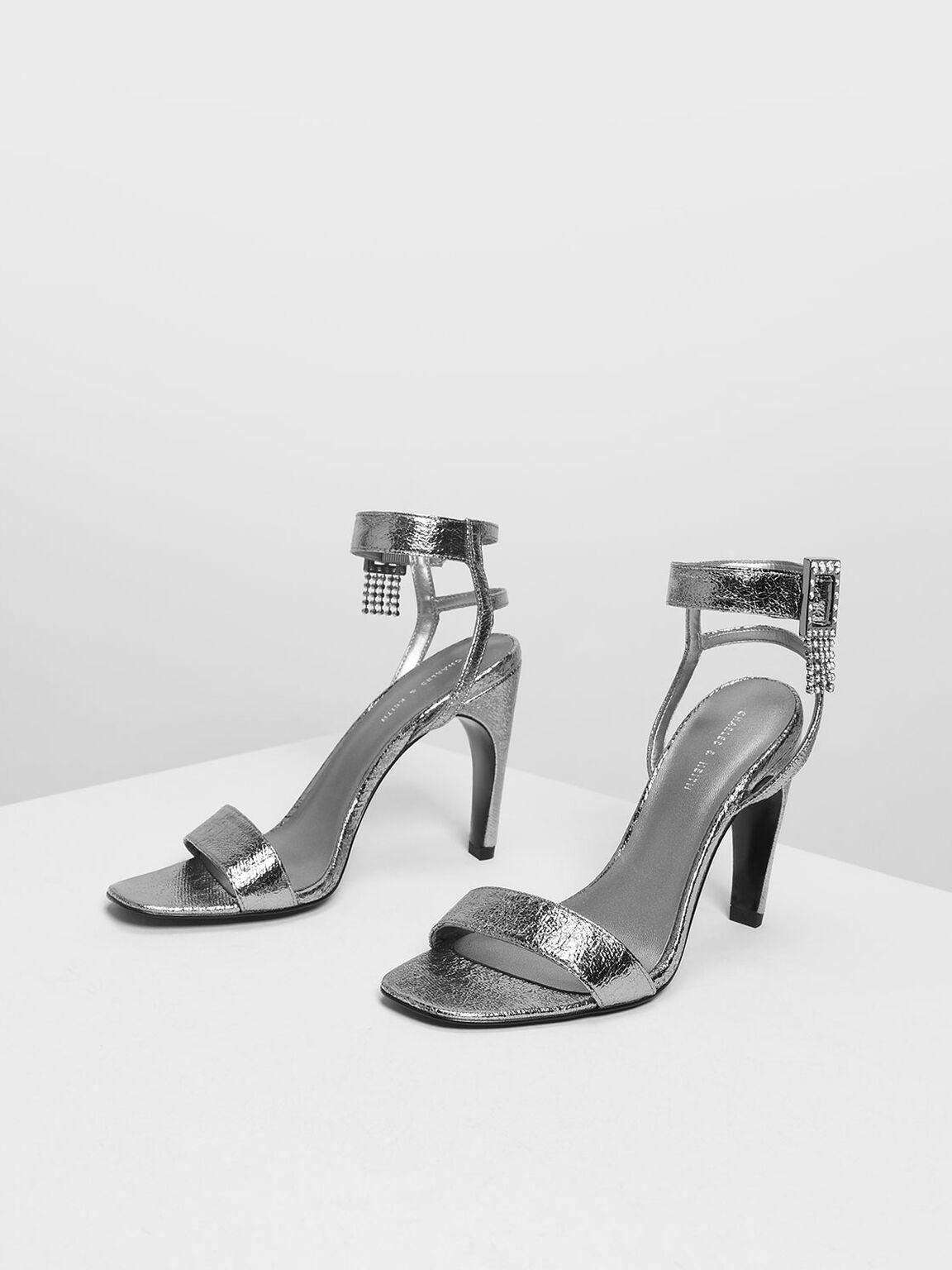 水晶流蘇高跟涼鞋, 金灰色, hi-res