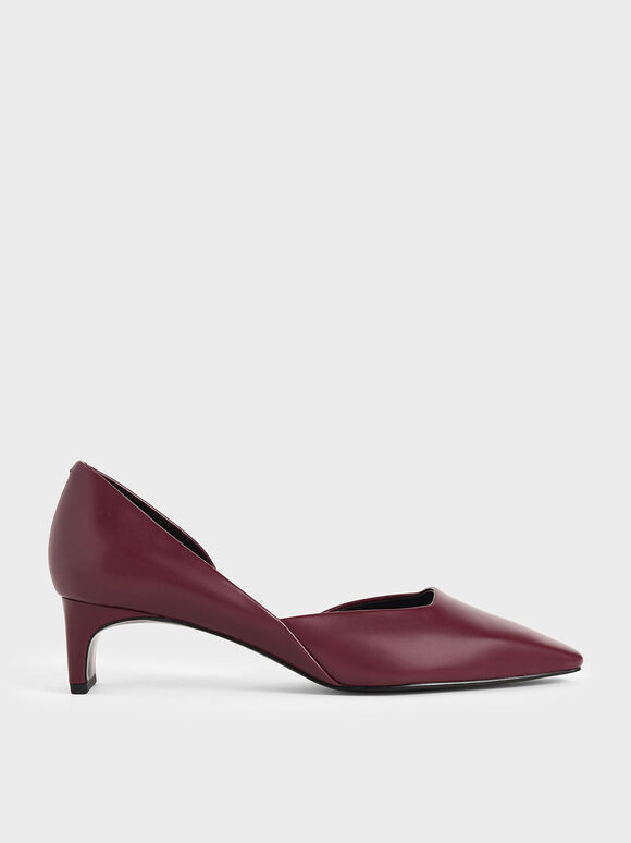 Square Toe D'Orsay Pumps, Burgundy, hi-res