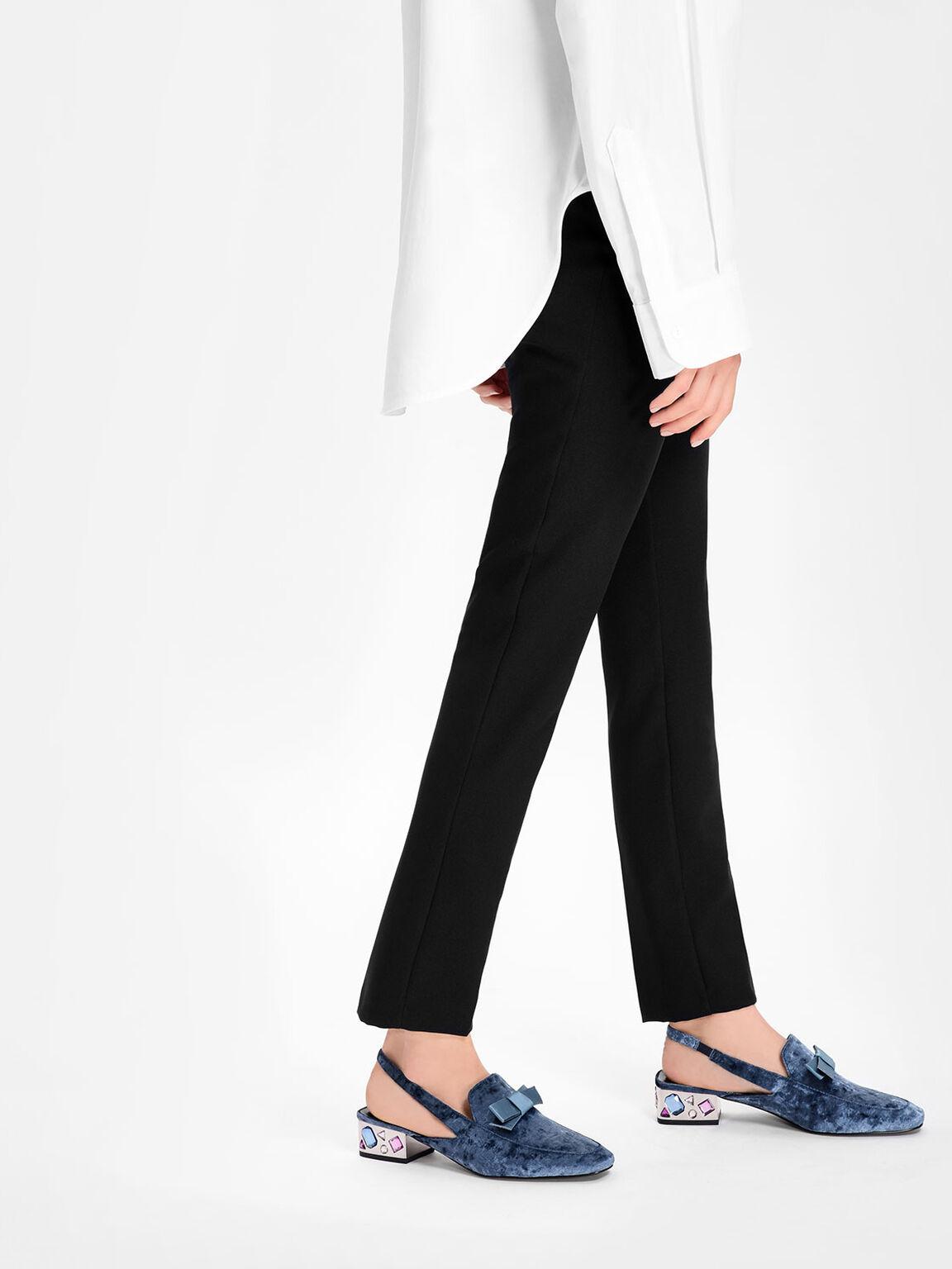 Embellished Heel Slingbacks, Blue, hi-res