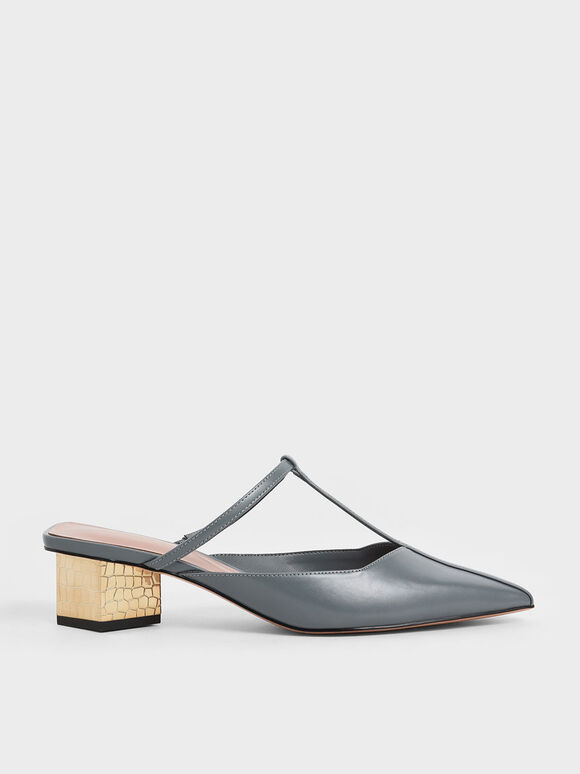 T-Bar Chrome Heel Mules, Blue, hi-res