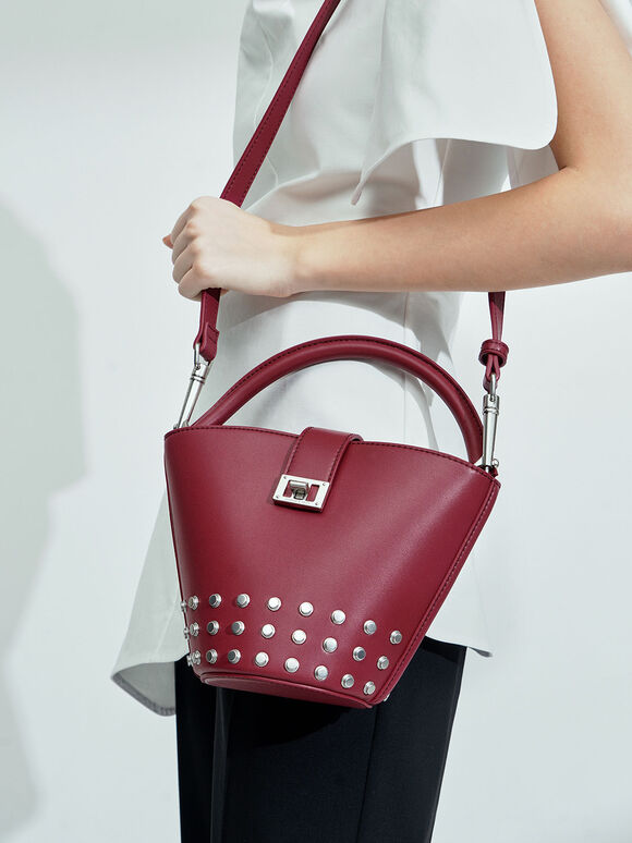 Studded Bucket Bag, Berry, hi-res