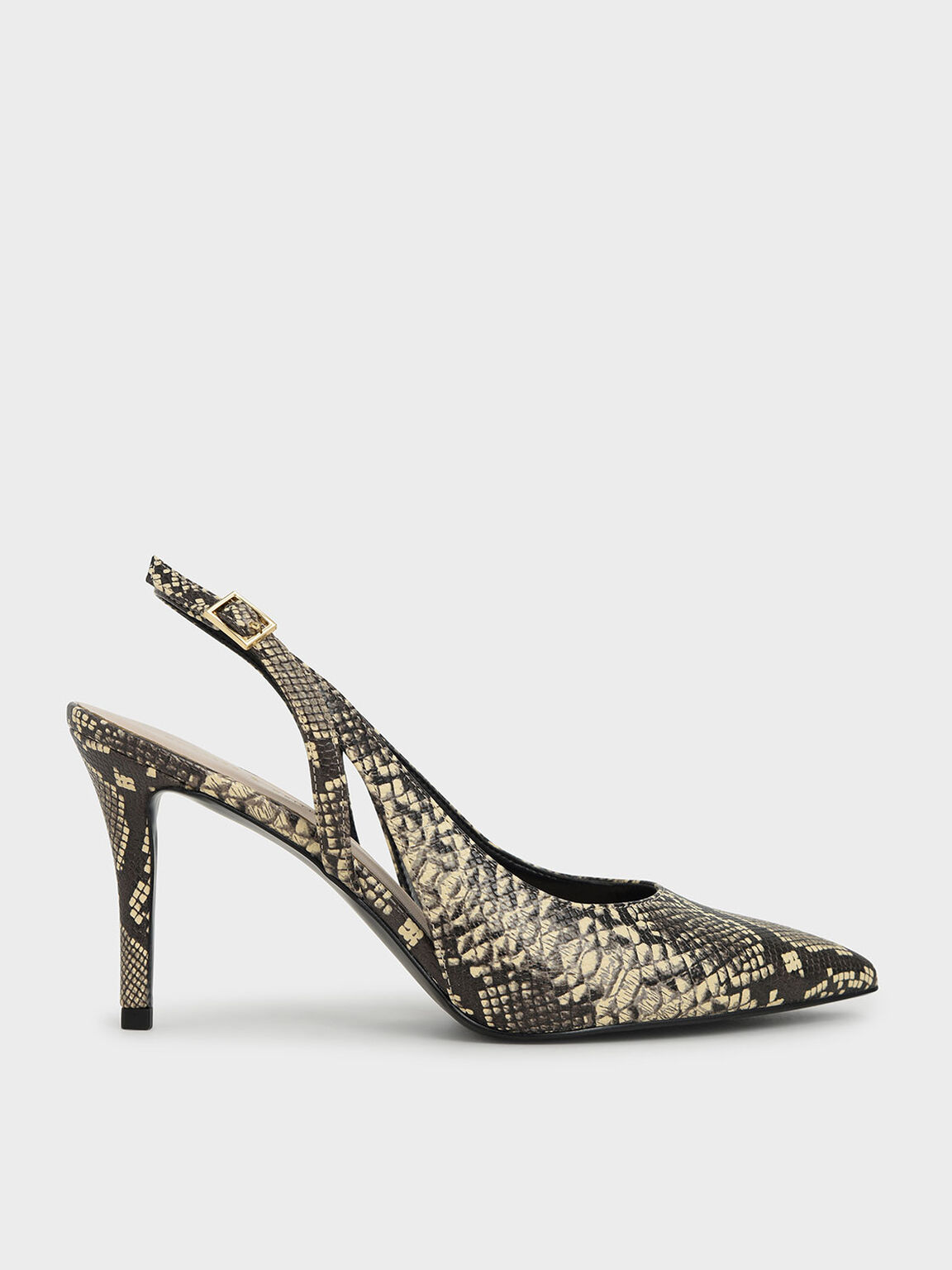 Snake Print Cut-Out Slingback Pumps, Animal Print Natural, hi-res