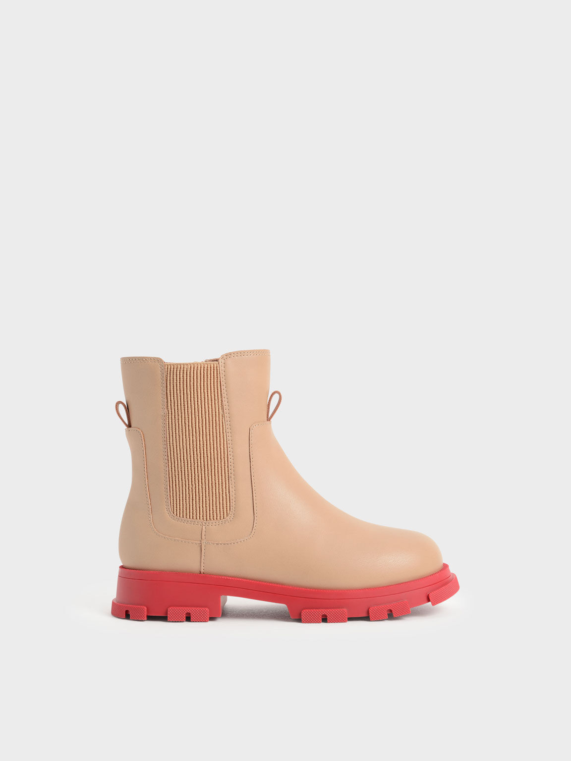 Girls' Chunky Coloured Sole Chelsea Boots, Nude, hi-res
