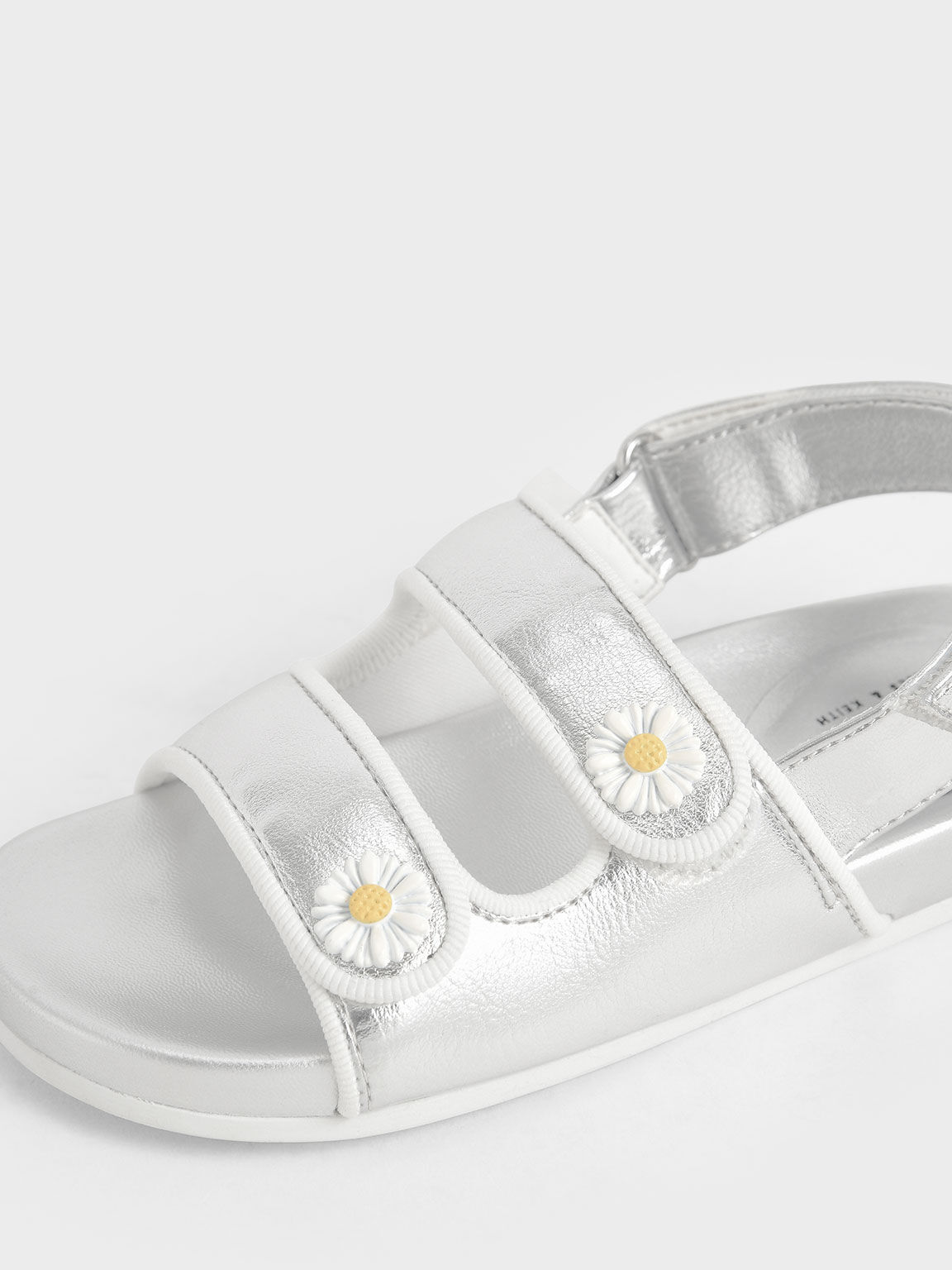 Girls' Metallic Flower-Embellished Platform Sandals, Silver, hi-res