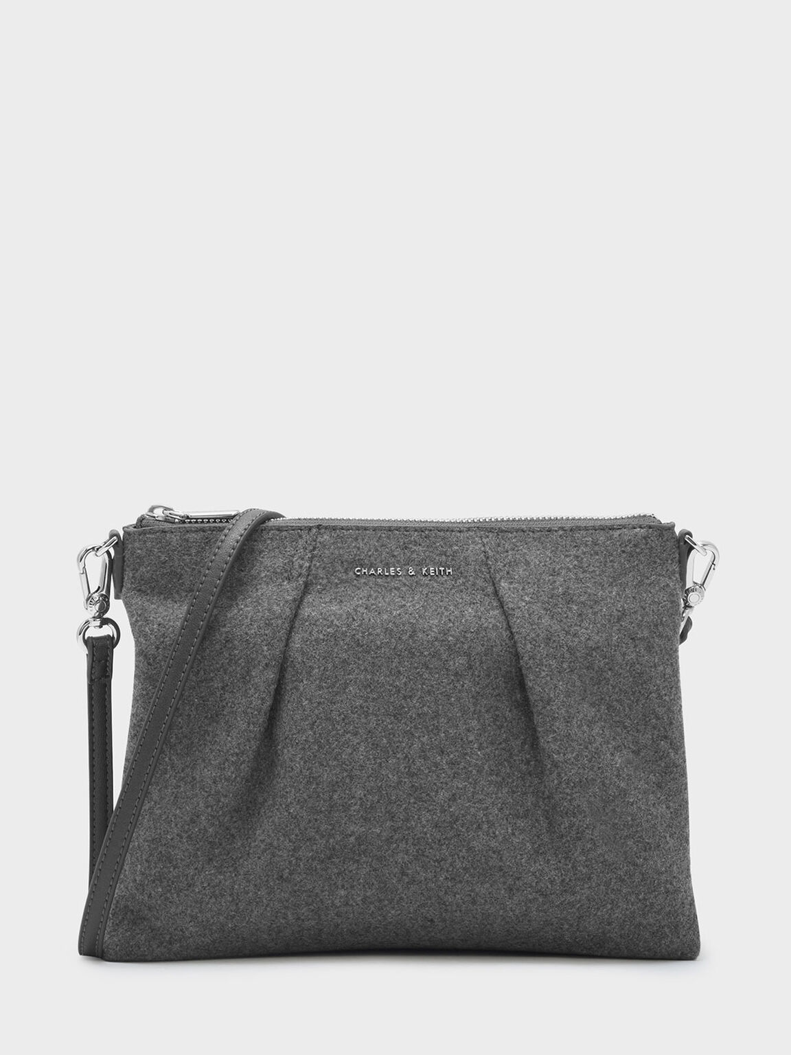 Top Zip Sling Bag, Grey, hi-res