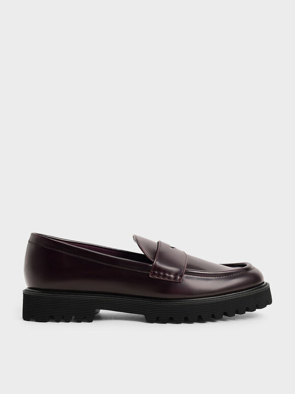 Chunky Penny Loafers, Burgundy, hi-res