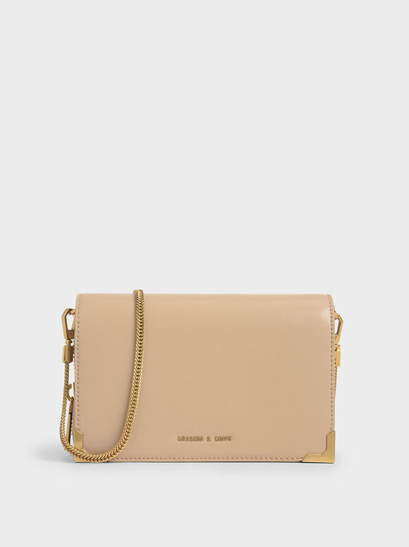 Metallic Edge Crossbody Bag, Beige, hi-res