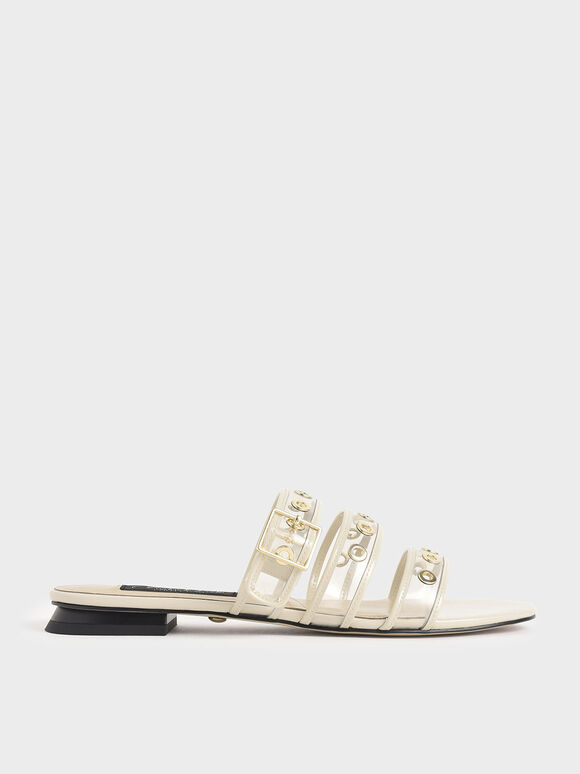 Patent Leather Eyelet-Embellished Slide Sandals, Chalk, hi-res