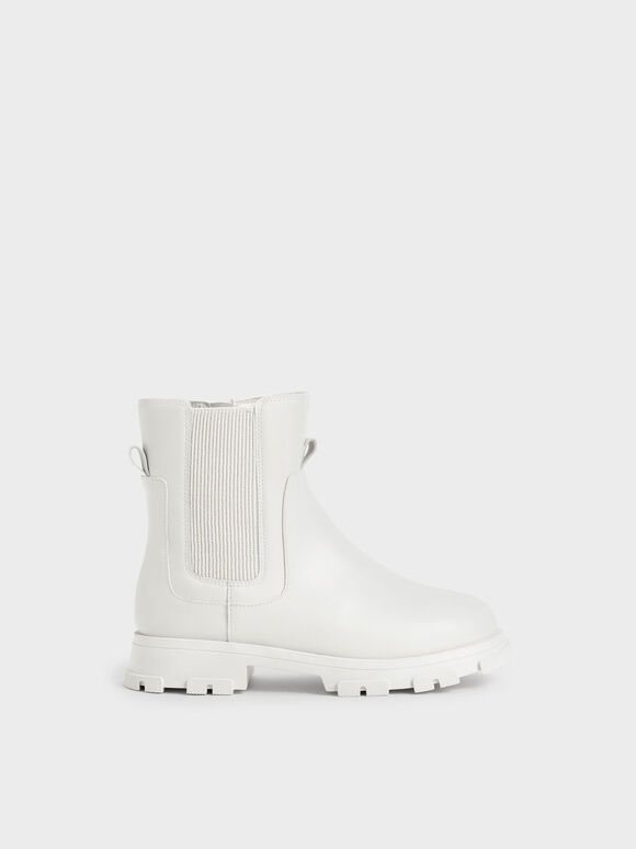兒童厚底切爾西靴, 白色, hi-res