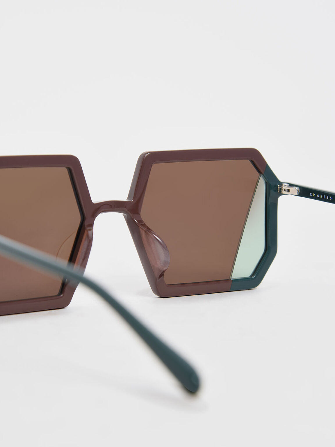 Two-Tone Geometric Sunglasses, Brown, hi-res