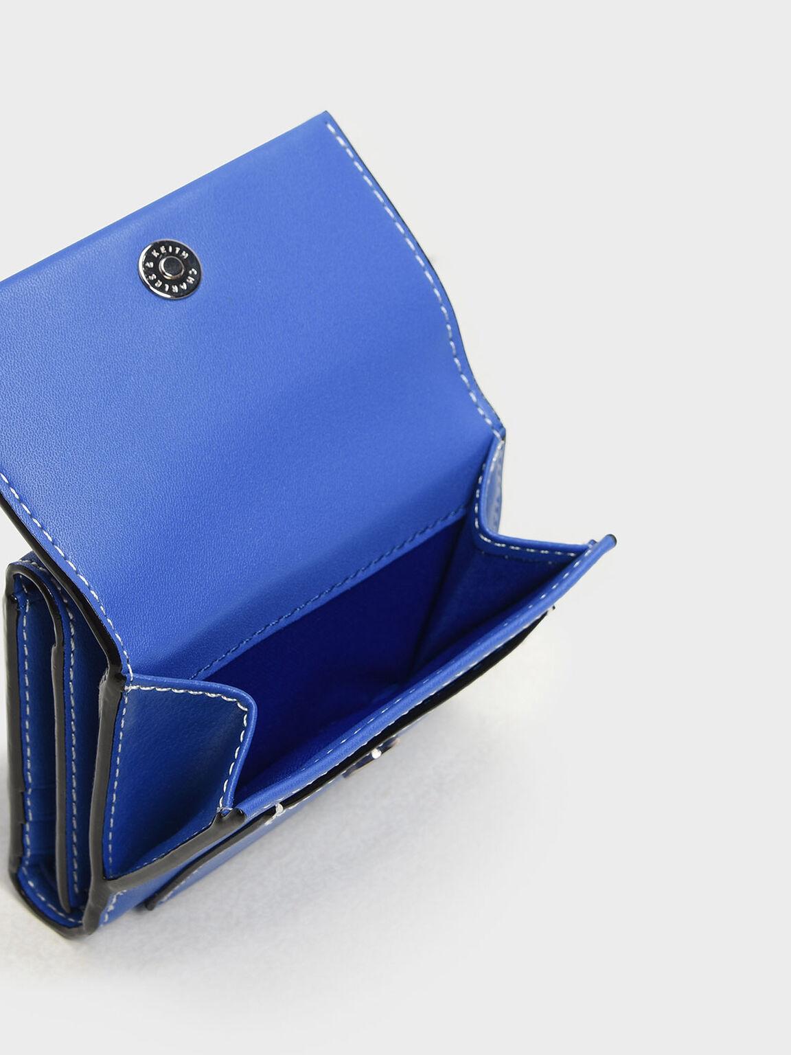 Stitch Detail Front Flap Short Wallet, Blue, hi-res