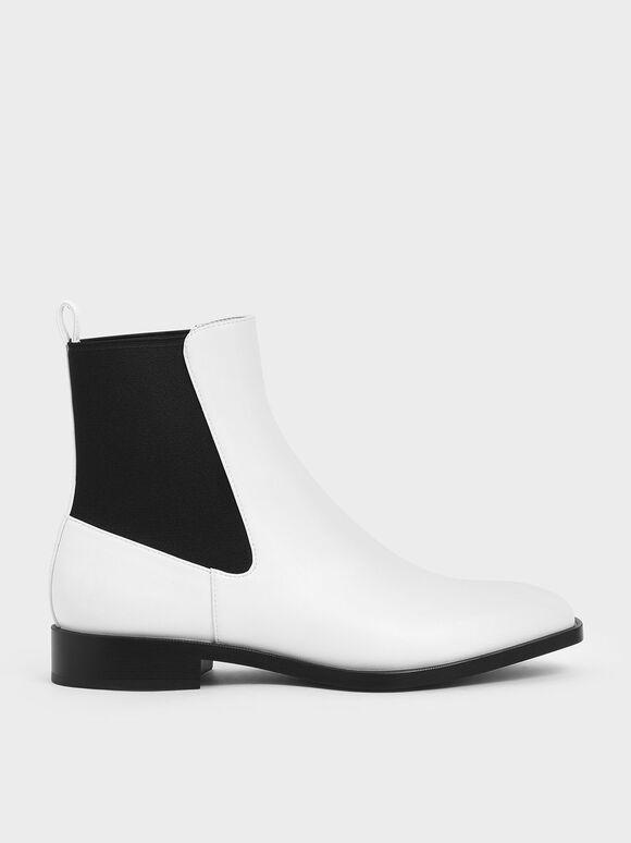 Two-Tone Mini Square Toe Chelsea Boots, White, hi-res