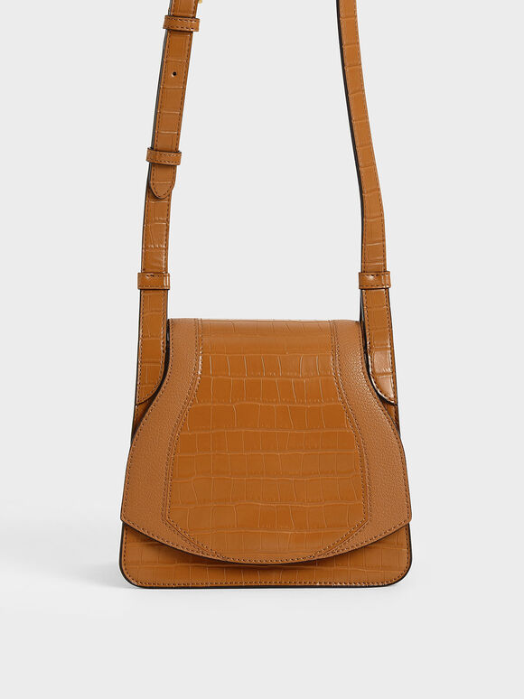 Croc-Effect Small Crossbody Bag, Cognac, hi-res