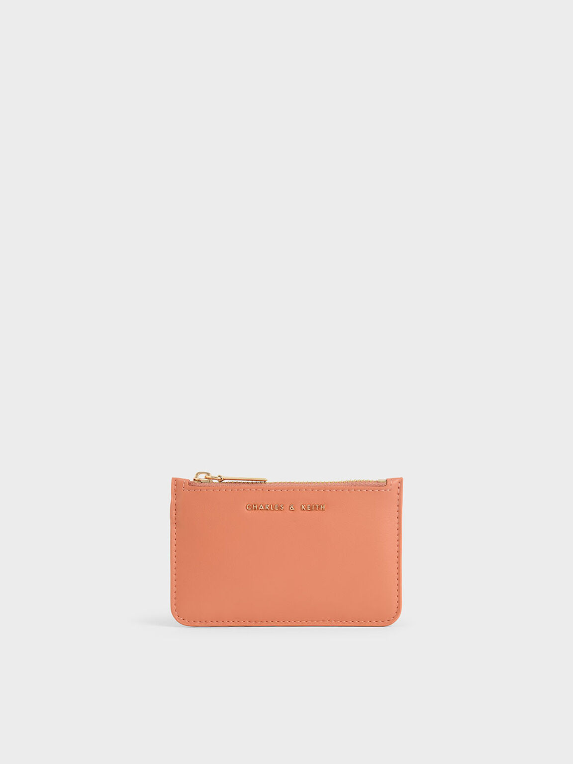 Top Zip Card Holder, Peach, hi-res