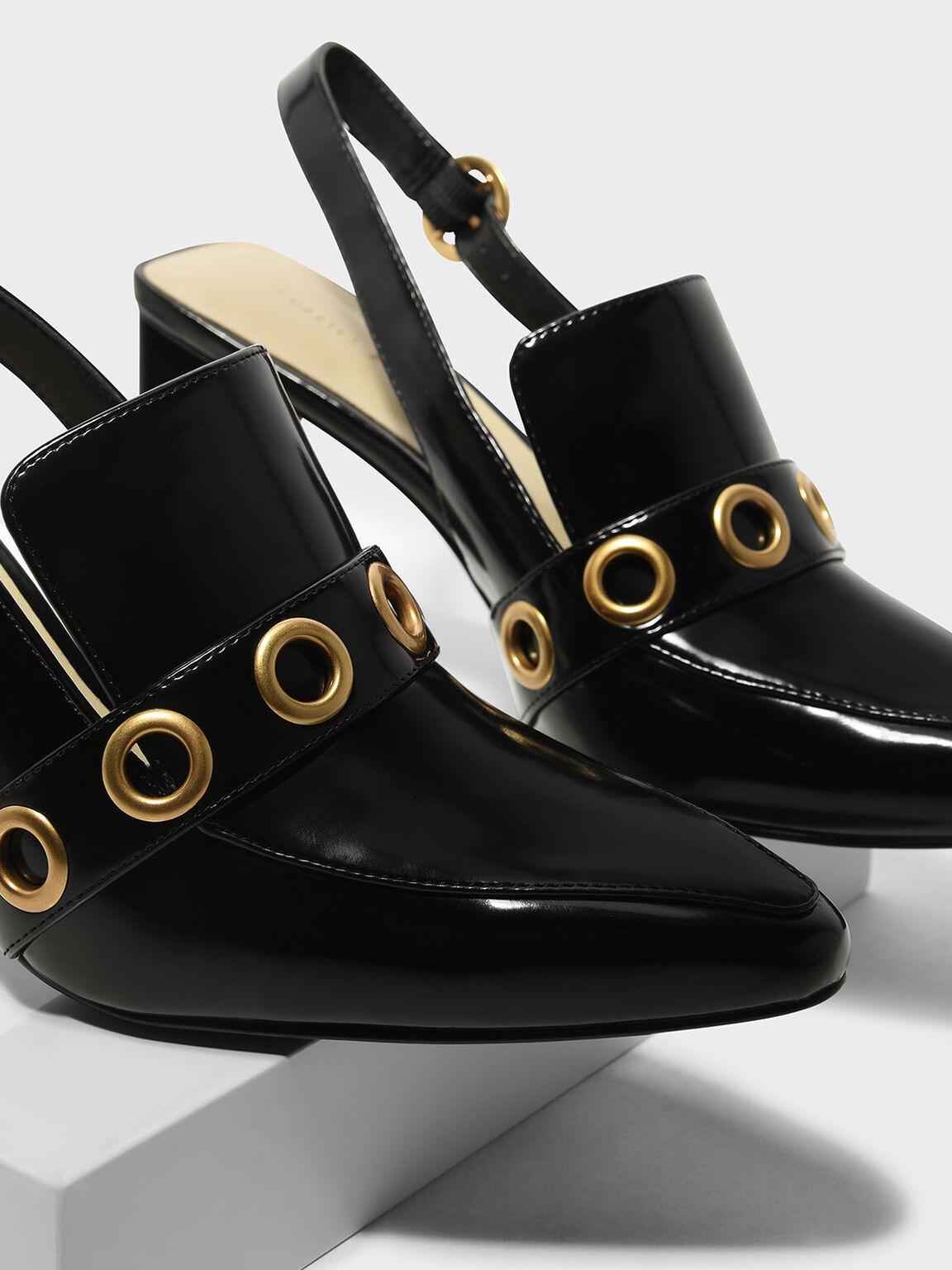 Rivet Detail Slingback Heels, Black, hi-res
