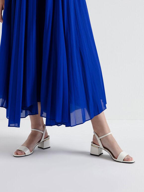 Open Toe Ankle Strap Block Heel Sandals, Chalk, hi-res