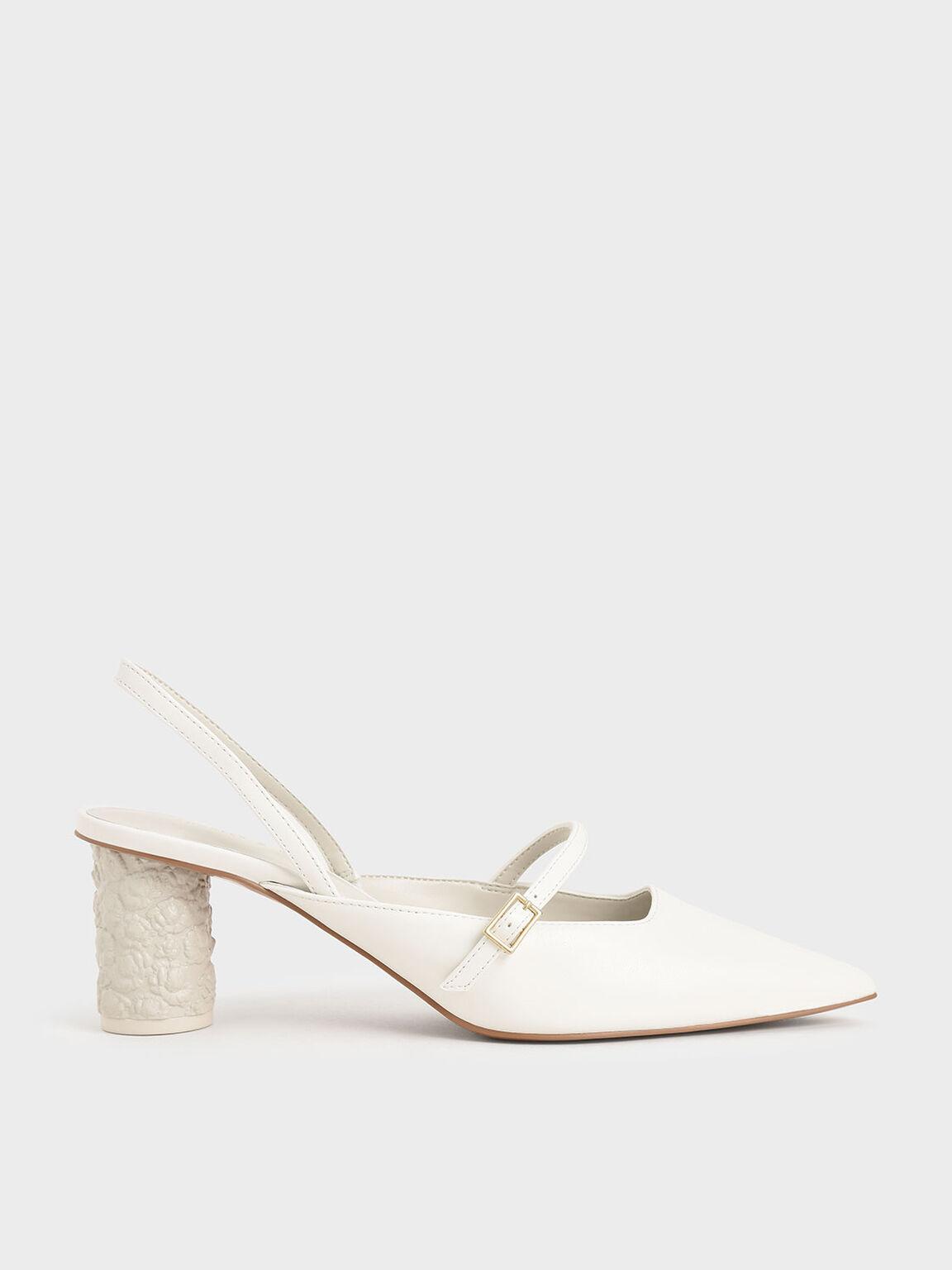 Embossed Heel Slingback Pumps, White, hi-res