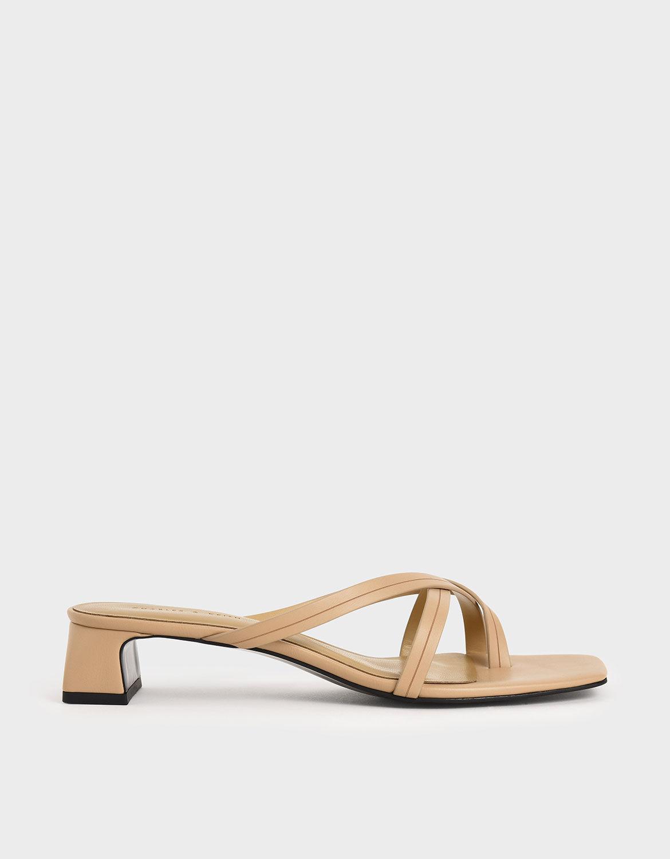 Strappy Toe Loop Heeled Sandals