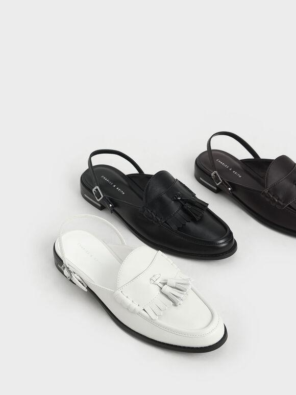 Tassel Slingback Loafer Mules, Black, hi-res