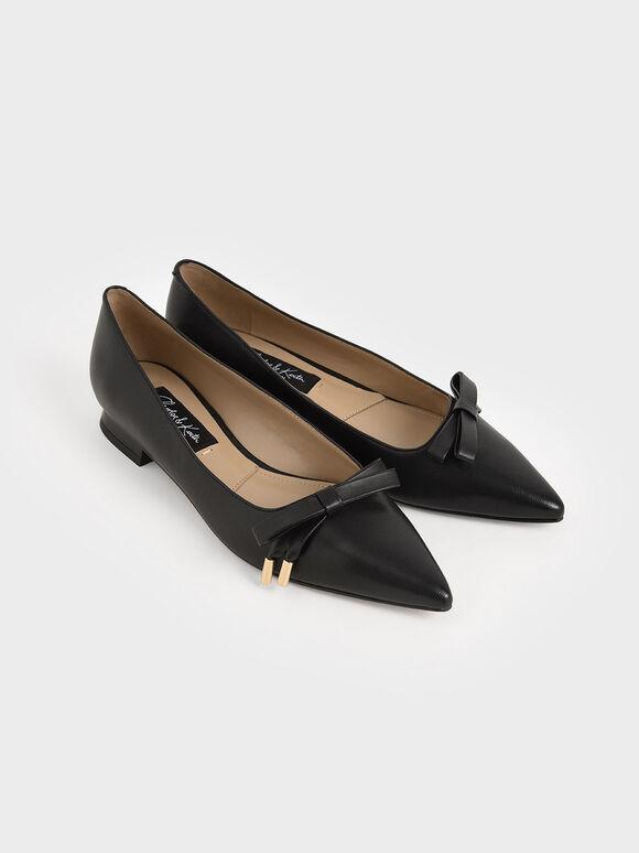 Leather Bow Ballerina Flats, Black, hi-res
