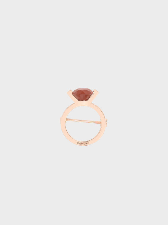 Red Jasper Stone Ring Brooch, Rose Gold, hi-res