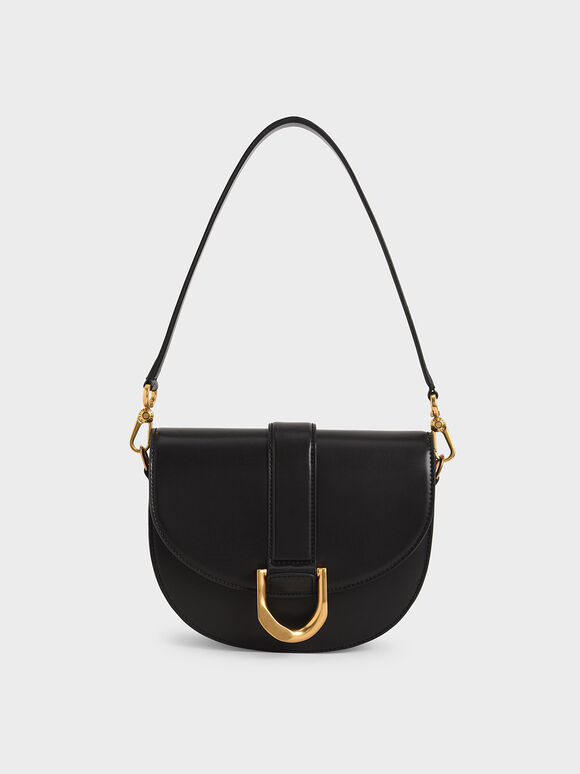 Gabine Saddle Bag, Black, hi-res