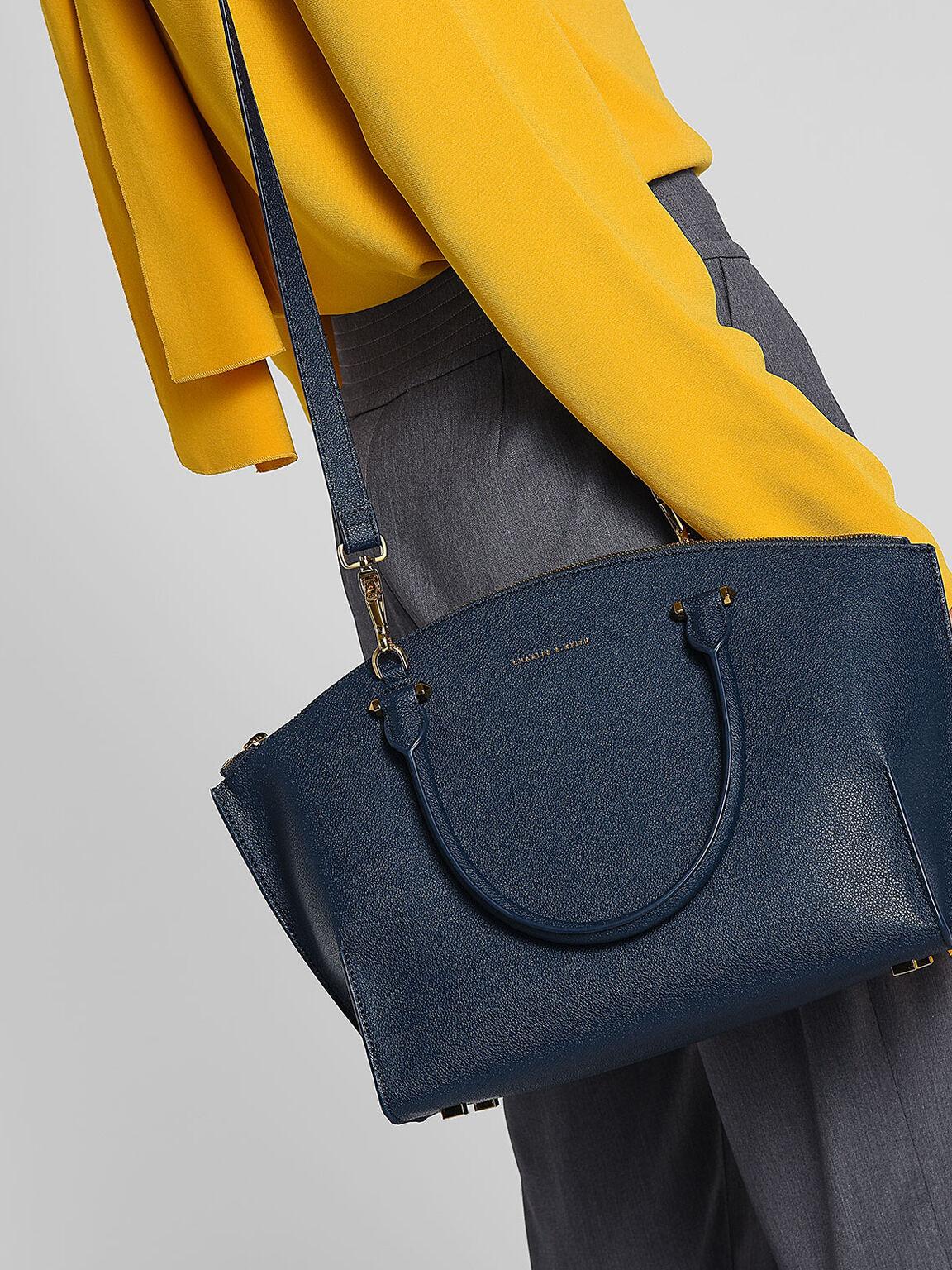 Curved Zip Tote Bag, Navy, hi-res