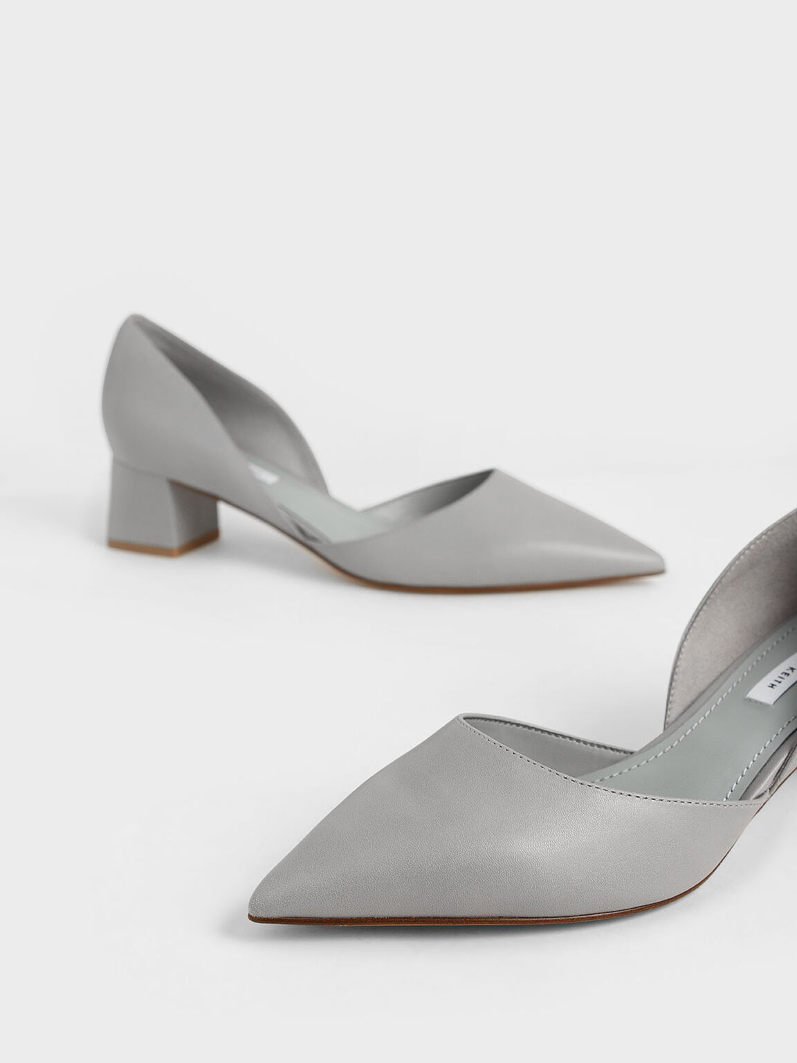 D'Orsay Block Heel Pumps, Grey, hi-res