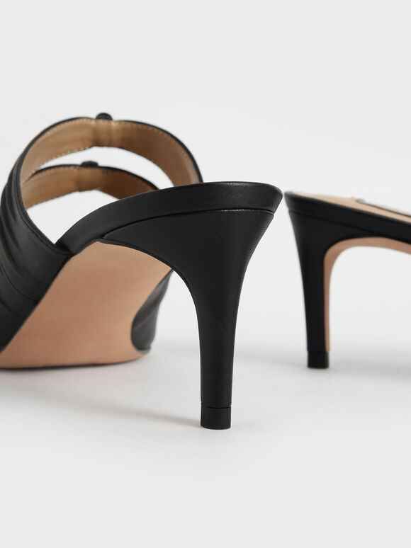 Leather Knot Detail Heeled Mules, Black, hi-res