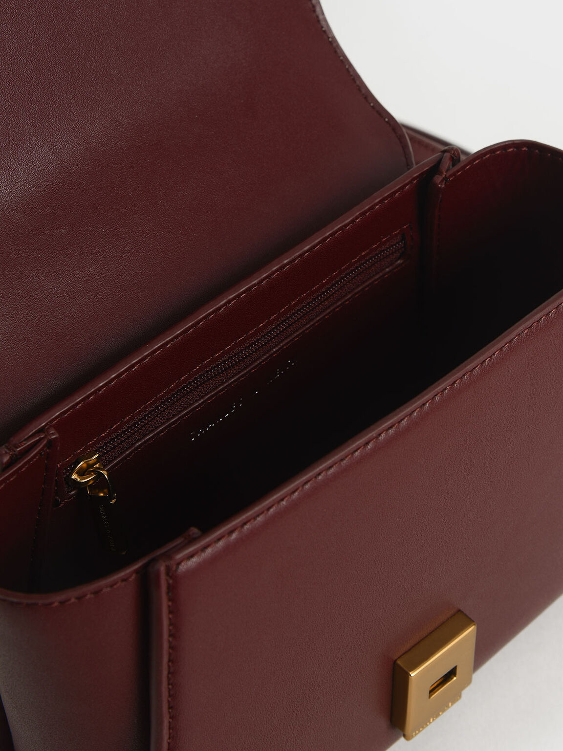 Metallic-Trimmed Front Flap Bag, Prune, hi-res