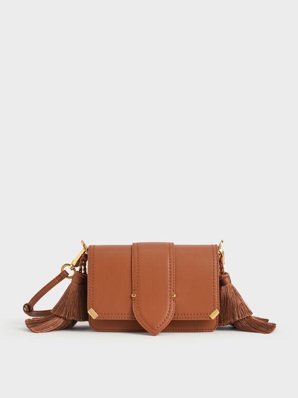 Molly Chiang Collection: Tassel Shoulder Bag, Cognac, hi-res
