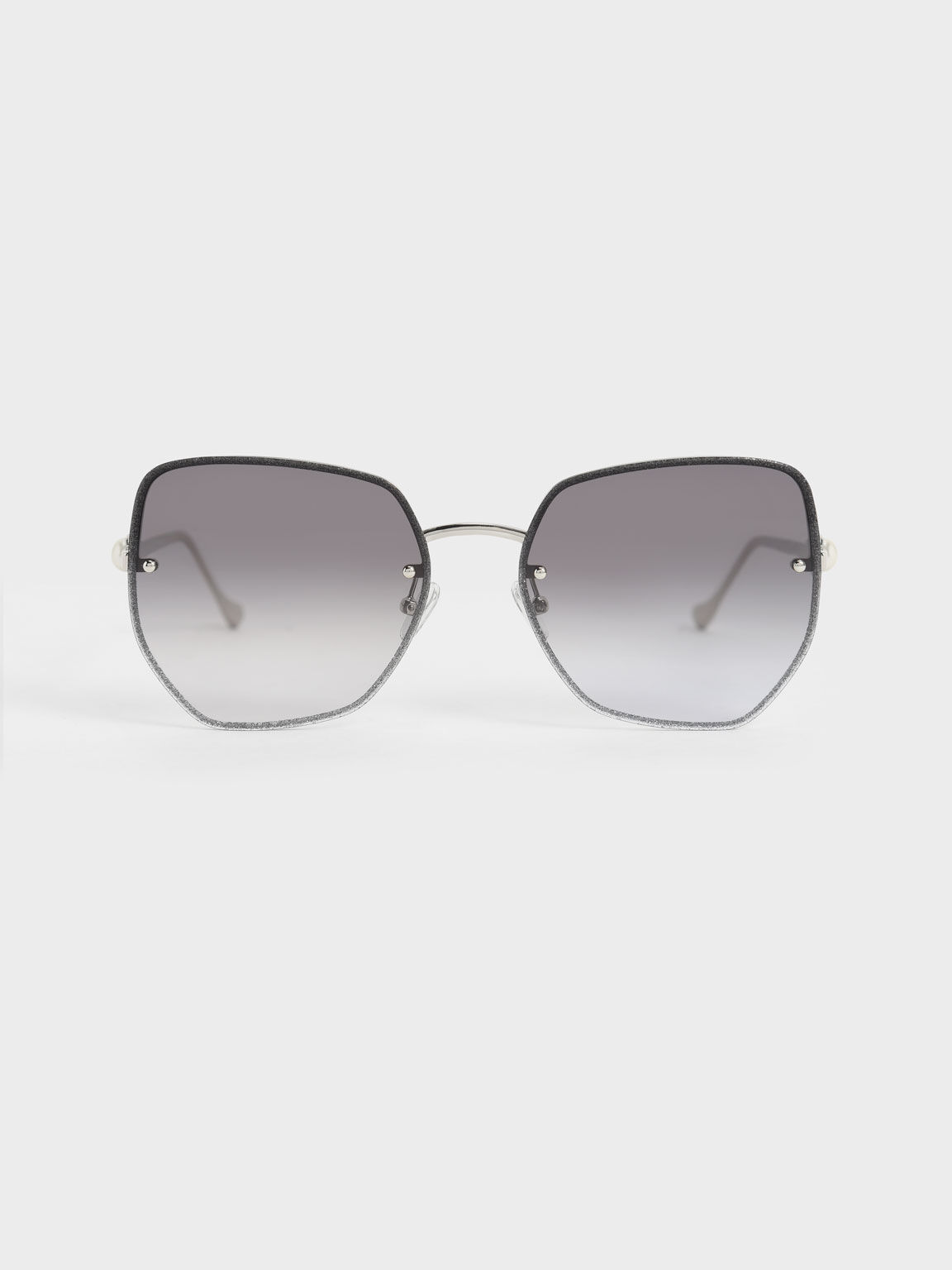 Embellished Tinted Butterfly Sunglasses, Silver, hi-res