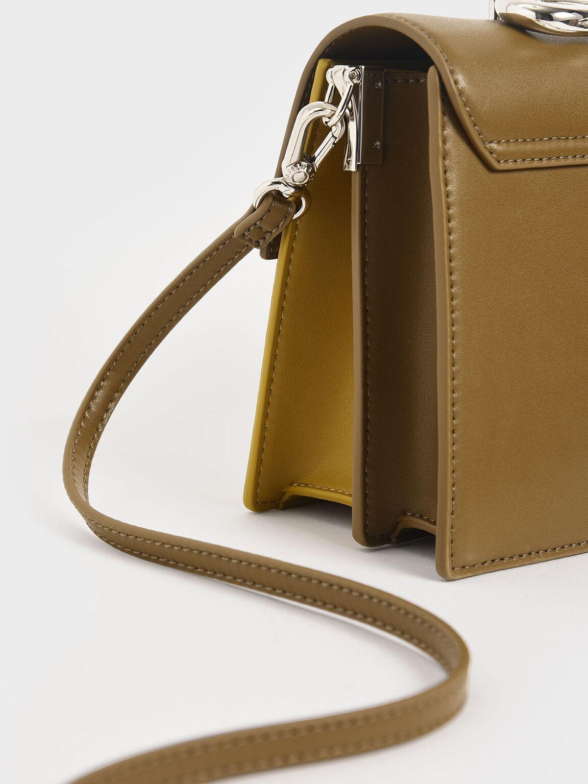 Sculptural Metal Handle Bag, Olive, hi-res