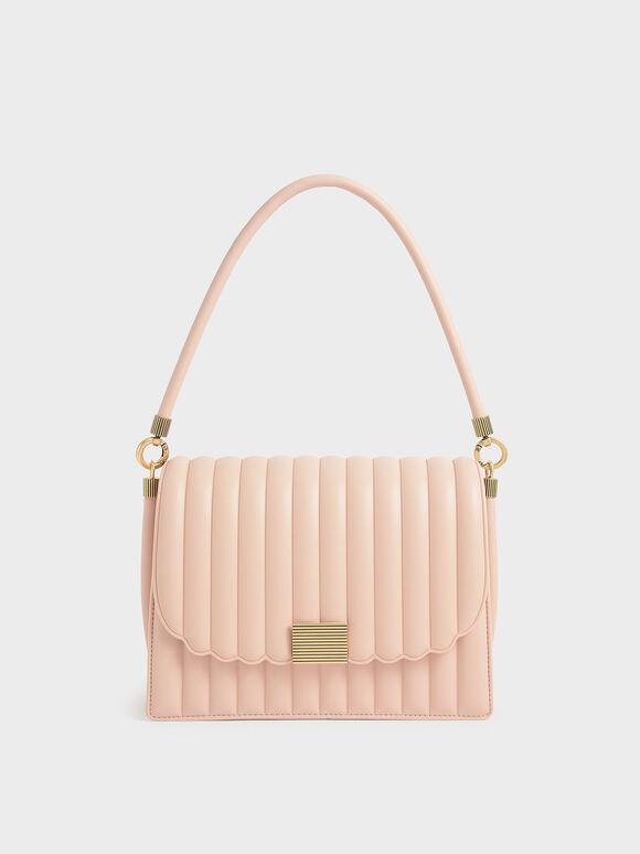 Panelled Shoulder Bag, Light Pink, hi-res