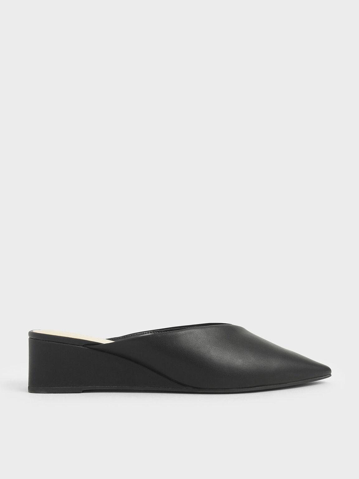 尖頭楔型拖鞋, 黑色, hi-res
