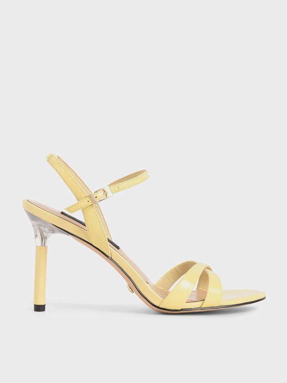 Patent Leather Criss-Cross Heels, Yellow, hi-res