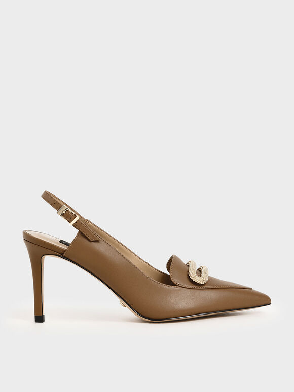 Leather Metallic Accent Pumps, Brown, hi-res