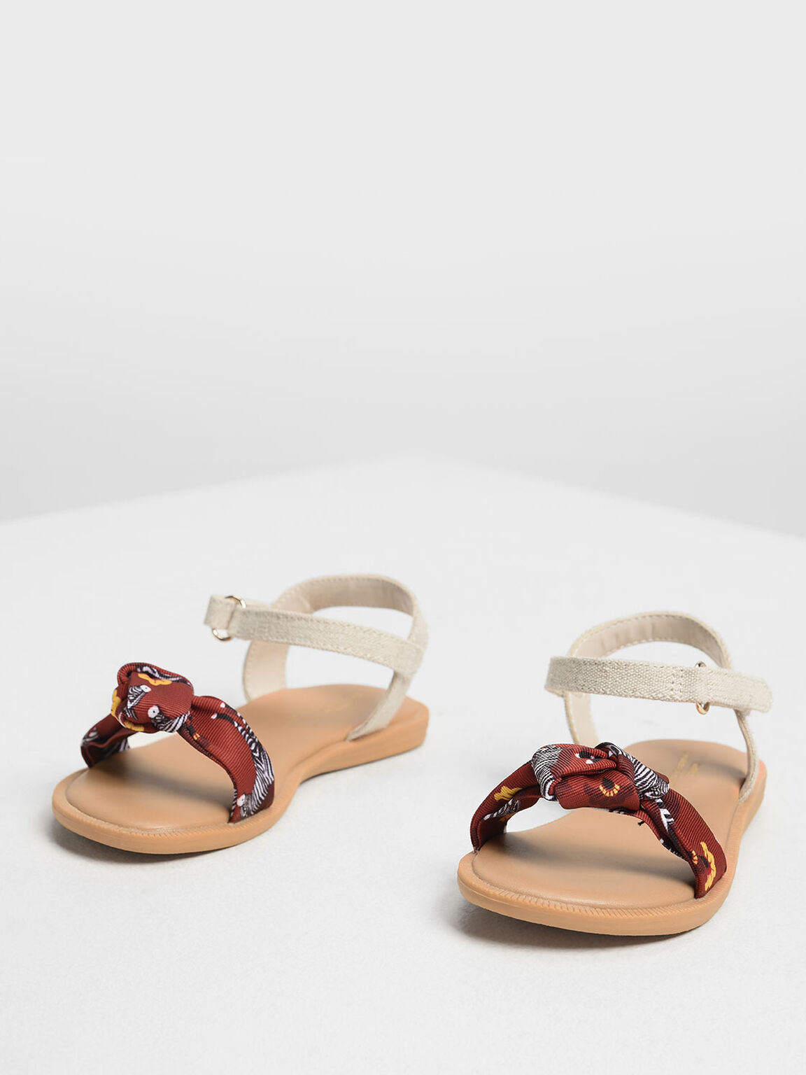 Girls' Zebra Print Sandals, Red, hi-res