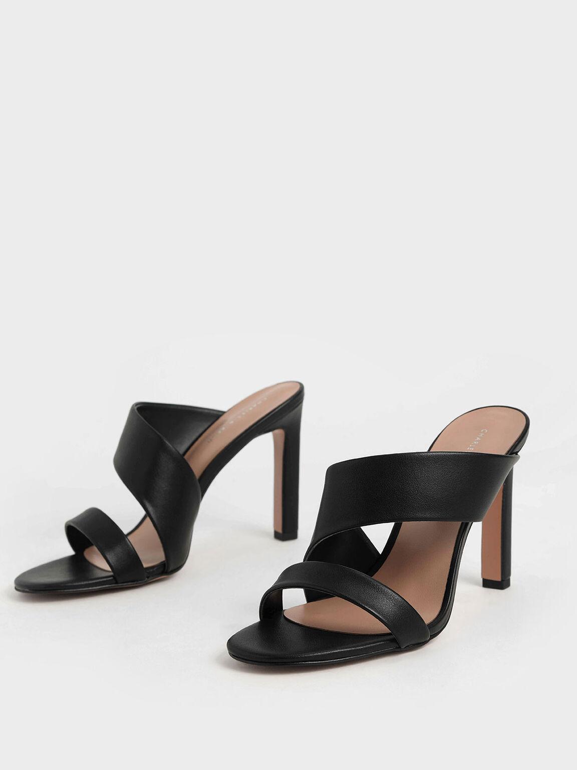幾何帶高跟拖鞋, 黑色, hi-res