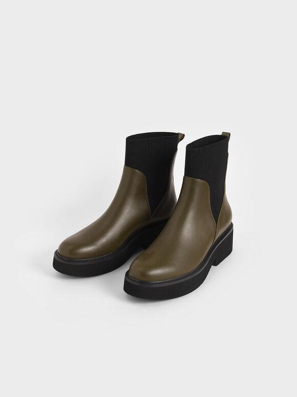 Ankle Sock Boots, Olive, hi-res