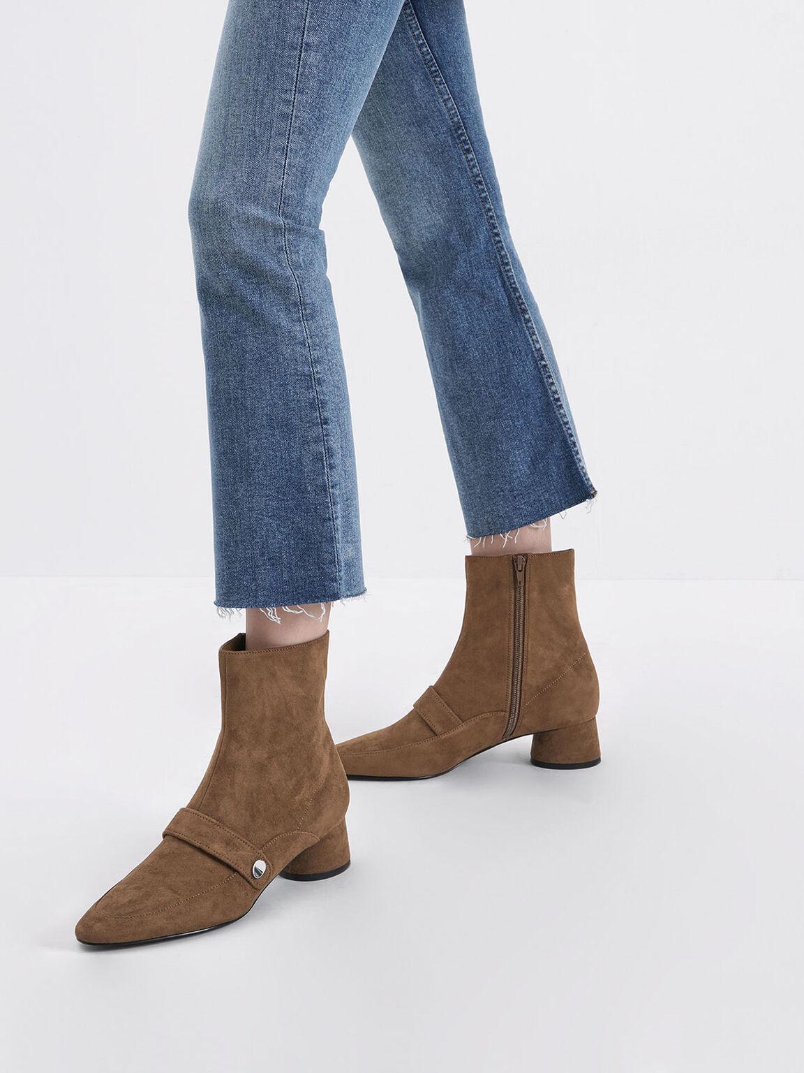 金屬片尖頭短靴, 咖啡色, hi-res