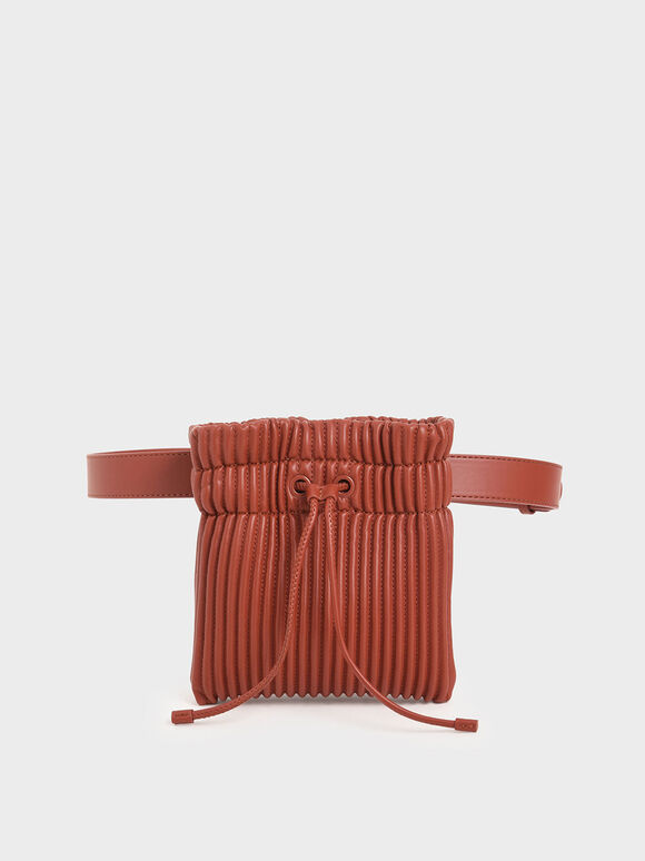 Textured Drawstring Belt Bag, Clay, hi-res