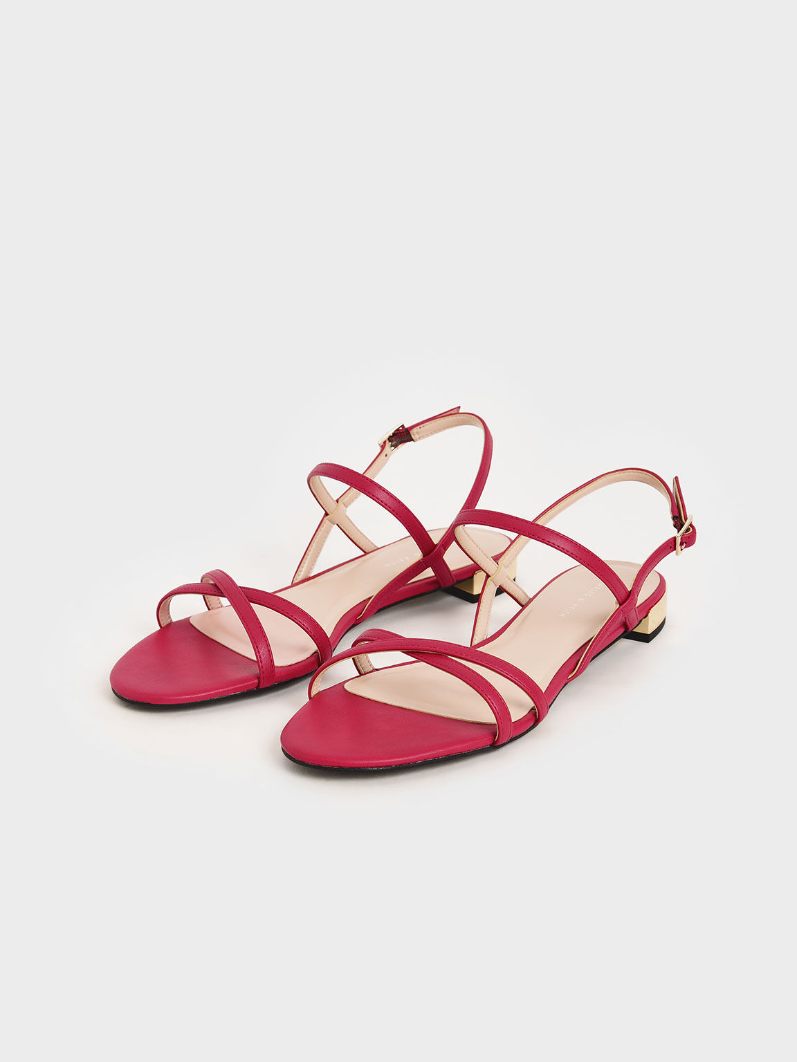 Strappy Flat Sandals, Red, hi-res