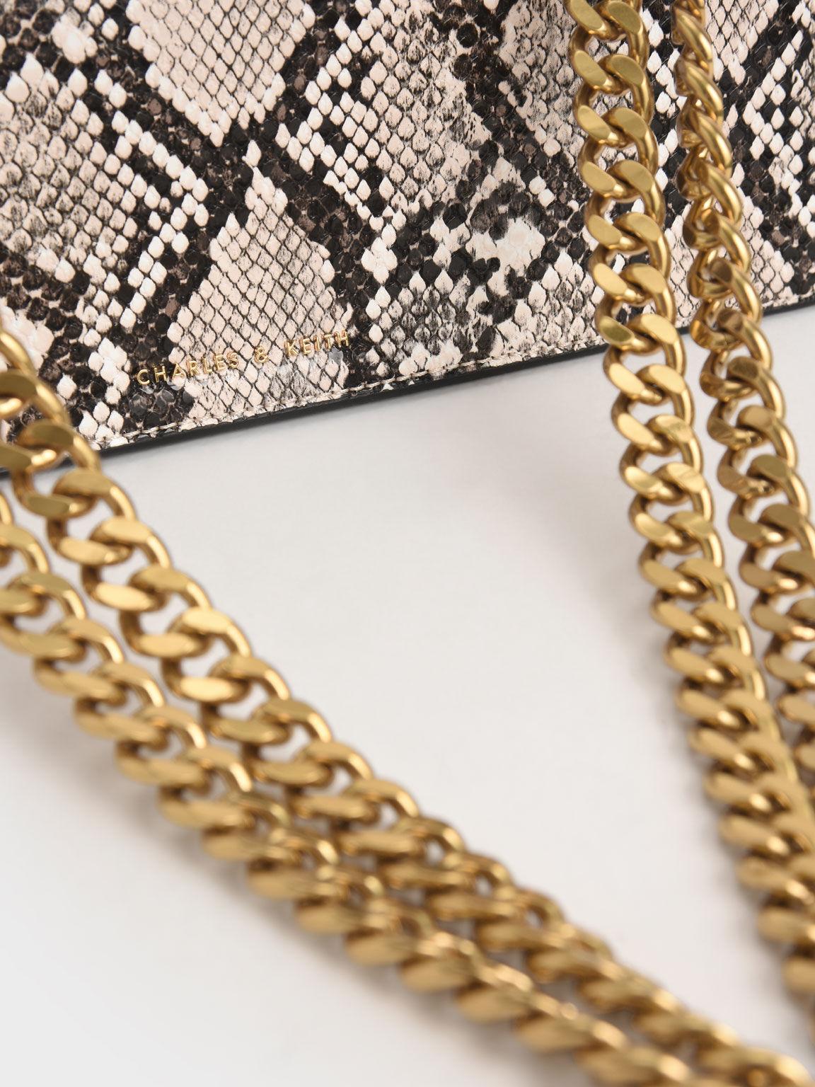 Chain Strap Snake Print Trapeze Shoulder Bag, Chalk, hi-res