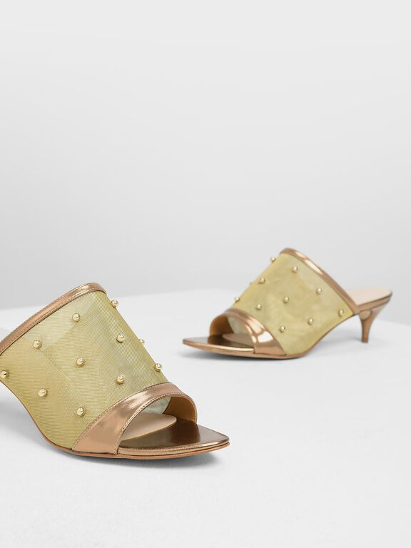 Embellished Mesh Kitten Heel Slide Sandals, Bronze