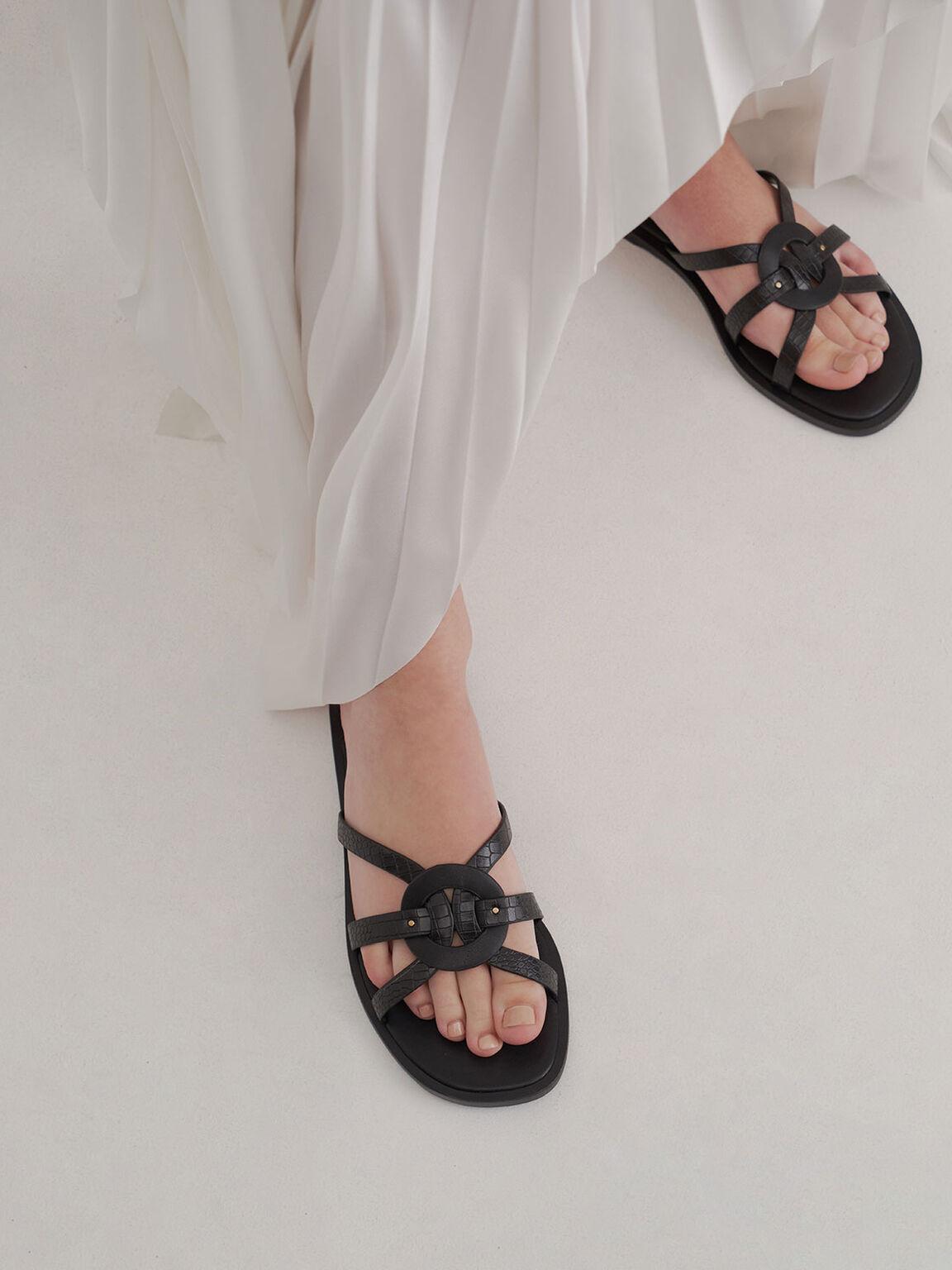 鱷魚紋圓環編織拖鞋, 黑色動物紋, hi-res