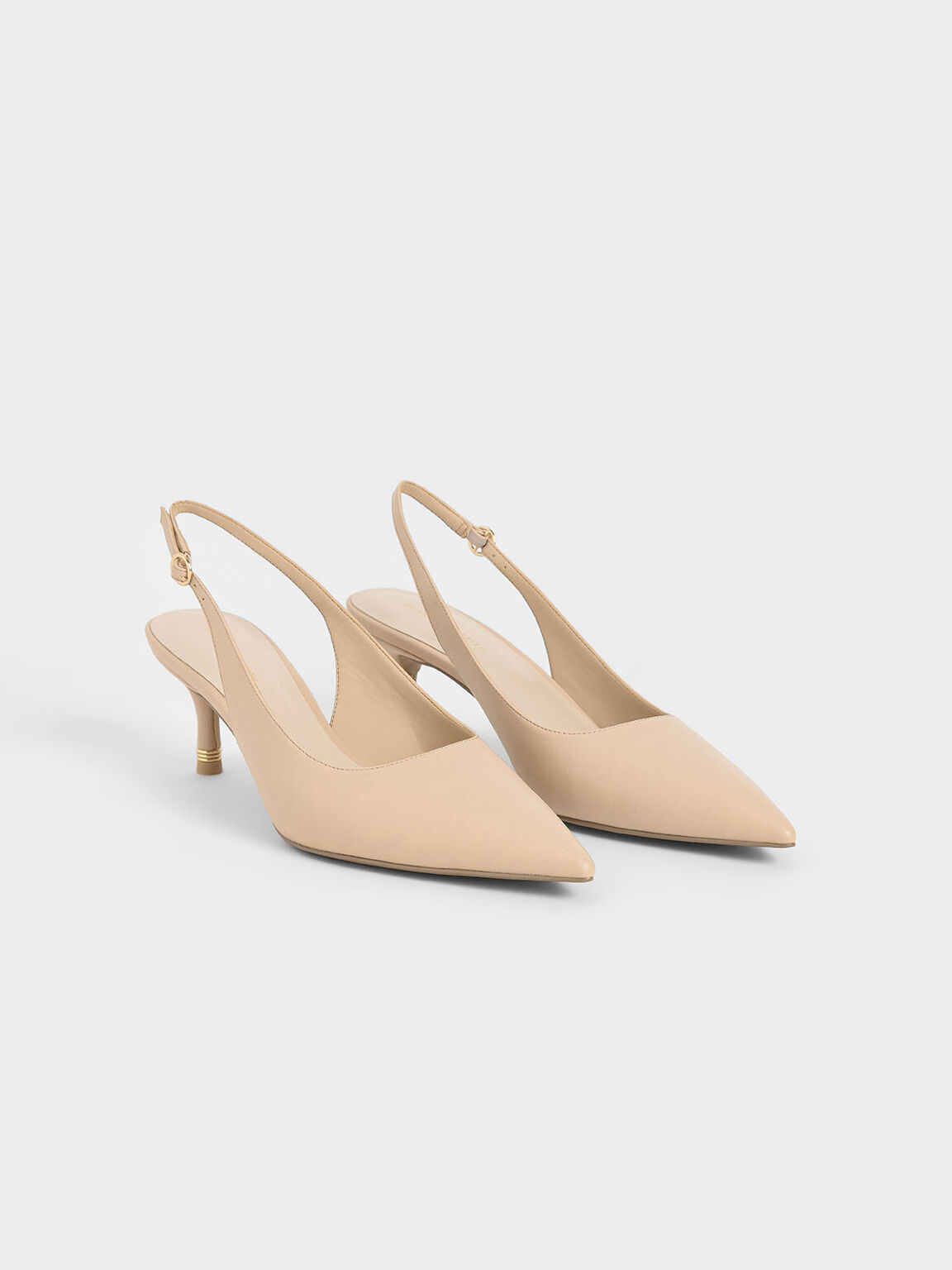Pointed Toe Slingback Pumps, Nude, hi-res