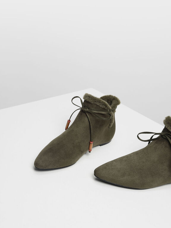 Furry Lining Ankle Booties, Olive